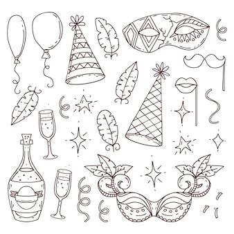 Coleção de símbolos de carnaval em estilo doodle em fundo branco, elementos de carnaval veneziano