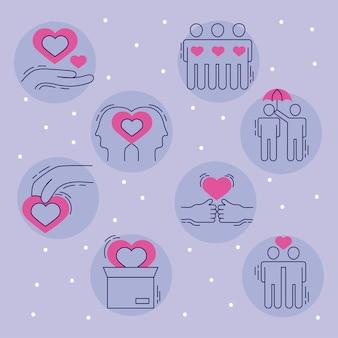 Coleção de símbolos de cuidados