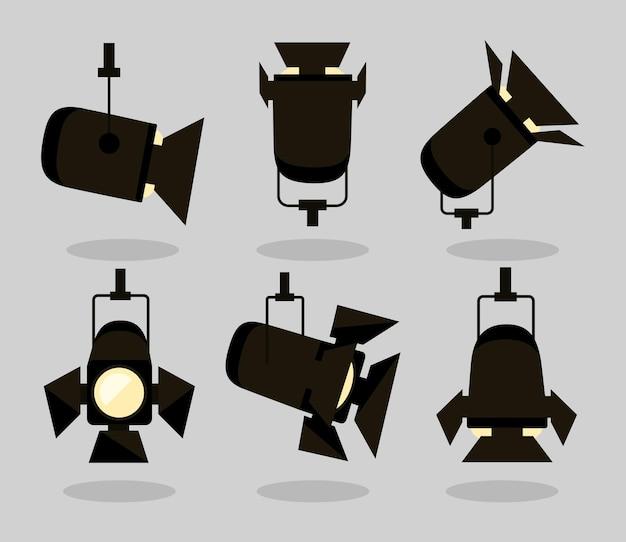 Coleção de símbolos de holofotes