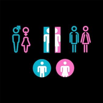 Coleção de símbolos de ícones de banheiros ou banheiros femininos e masculinos para guias de informações de locais públicos