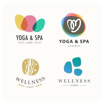 Coleção de símbolos de ioga, beleza e spa em cores claras isoladas.