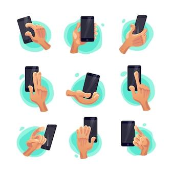 Coleção de símbolos de mão plana segurando o smartphone isolado no fundo branco. estilo de desenho animado. ícones de emoji, conjunto de símbolos. sinais de mãos e gestos diferentes.