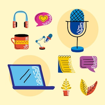 Coleção de símbolos de podcast