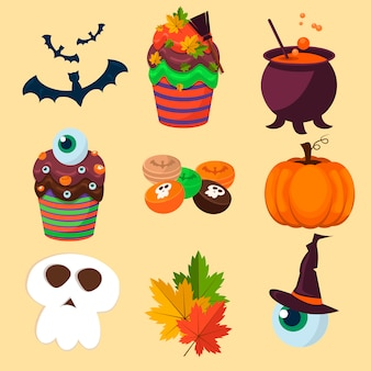 Coleção de símbolos do halloween.