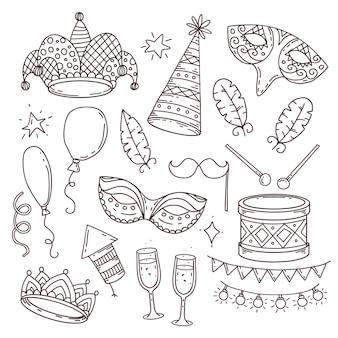 Coleção de símbolos e atributos de carnaval em estilo doodle em fundo branco, elementos de carnaval veneziano
