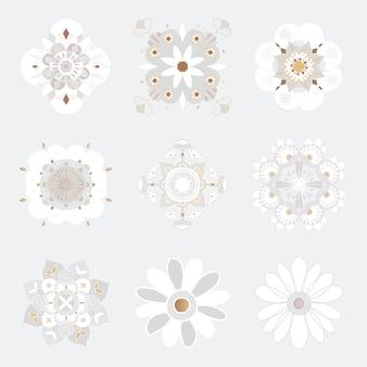 Coleção de símbolos florais com padrão de mandala oriental