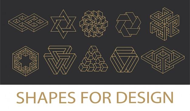 Coleção de símbolos geometria sagrada. hipster, abstrato, alquimia, espirituais, conjunto de elementos místicos.