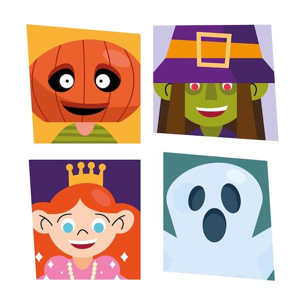 Coleção de símbolos infantis com fantasias de halloween