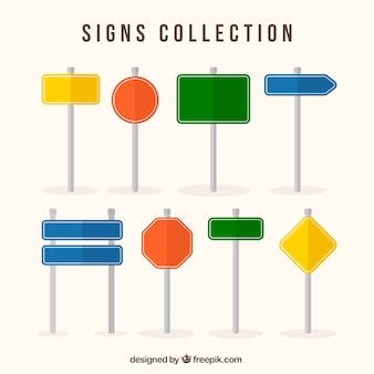 Coleção de sinais coloridos em design plano