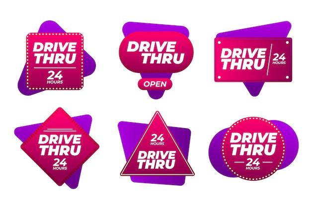 Coleção de sinais criativos de drive thru