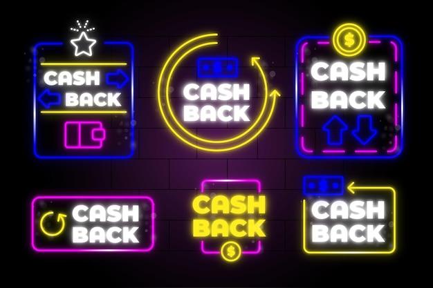 Coleção de sinais de cashback com luzes de néon