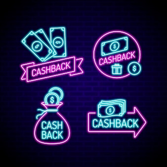 Coleção de sinais de cashback de néon