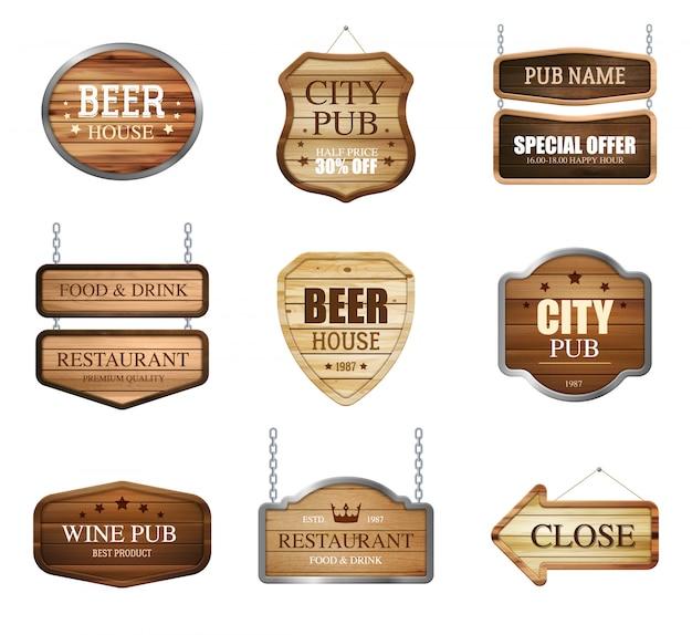 Coleção de sinais de loja de madeira