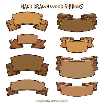 Coleção de sinais de madeira bonito