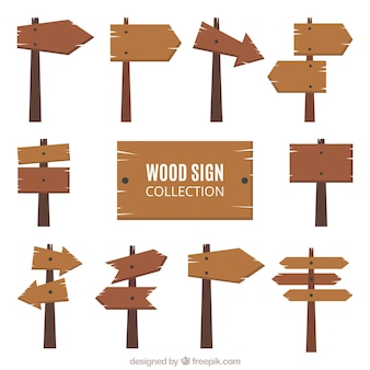 Coleção de sinais de madeira no design plano