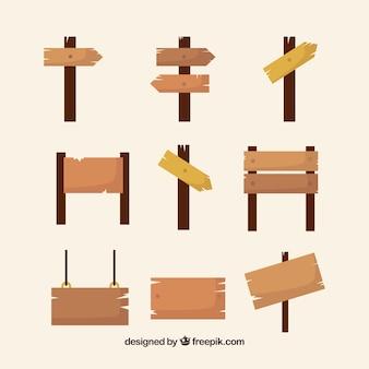 Coleção de sinais de madeira
