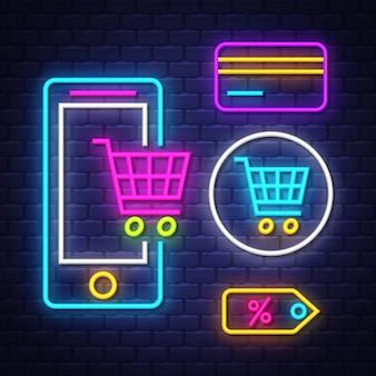 Coleção de sinais de néon de comércio eletrônico