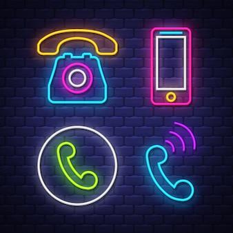 Coleção de sinais de néon de comunicação de telefone