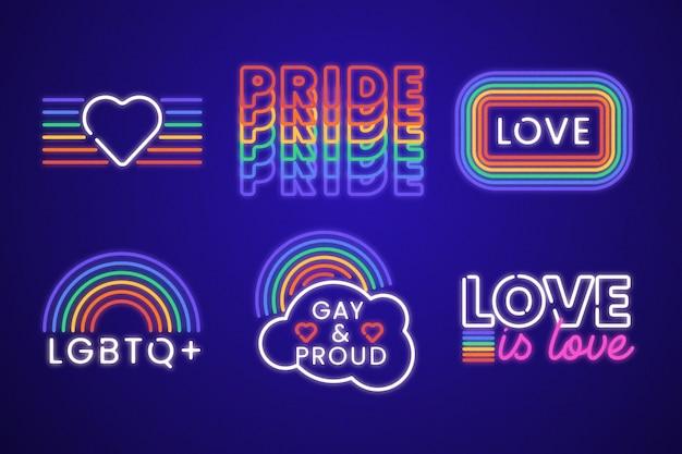Coleção de sinais de néon do dia do orgulho