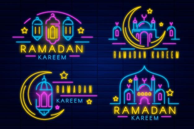 Coleção de sinais de néon do ramadã