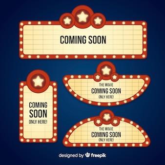 Coleção de sinais de teatro retrô em design plano