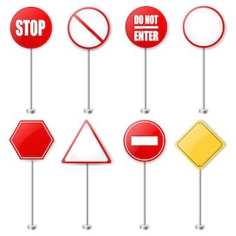 Coleção de sinais de trânsito e sinais de trânsito