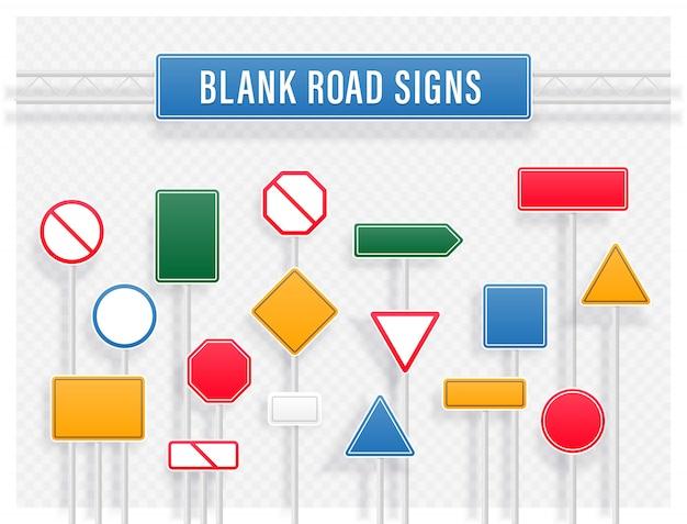 Coleção de sinais de trânsito em branco