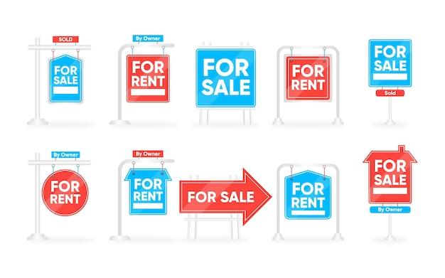 Coleção de sinais de venda de imóveis em azul e vermelho