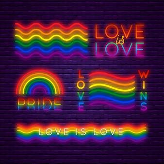 Coleção de sinais do orgulho dia neon