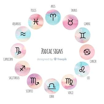 Coleção de sinais do zodíaco de estilo aquarela