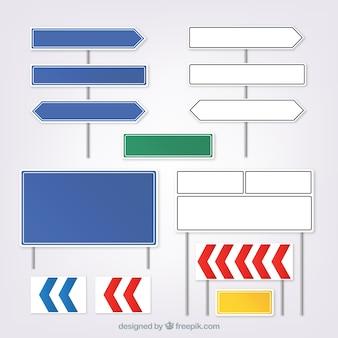Coleção de sinais em design plano