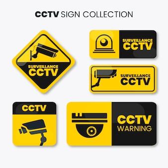 Coleção de sinal de cftv moderna com design plano