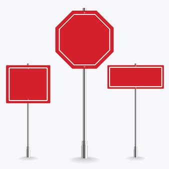 Coleção de sinal de estrada vermelha em branco sobre fundo branco. ilustração