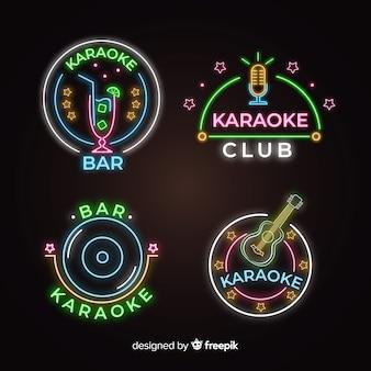 Coleção de sinal de karaoke luz neon