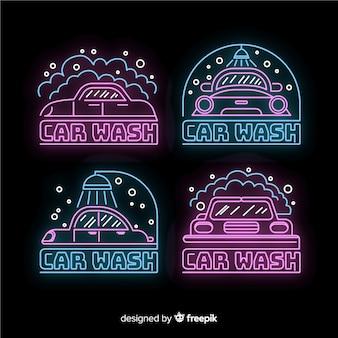 Coleção de sinal de lavagem de carro de néon