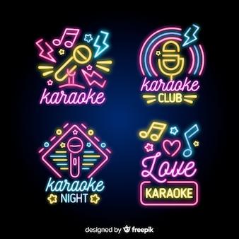 Coleção de sinal de luz de néon de karaoke noite