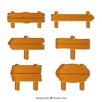 Coleção de sinal de madeira