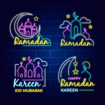 Coleção de sinal de néon com tema do ramadã