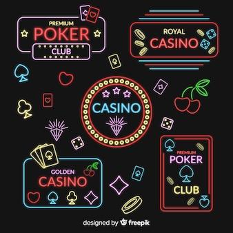 Coleção de sinal de néon de casino plana