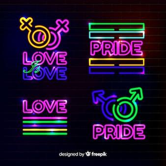 Coleção de sinal de néon de dia de orgulho