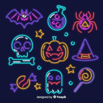 Coleção de sinal de néon de elemento de halloween