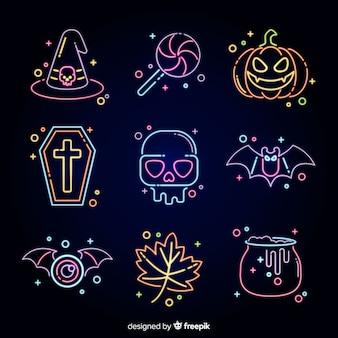 Coleção de sinal de néon de halloween