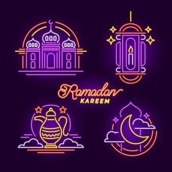 Coleção de sinal de néon do ramadã