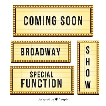 Coleção de sinal de teatro plana