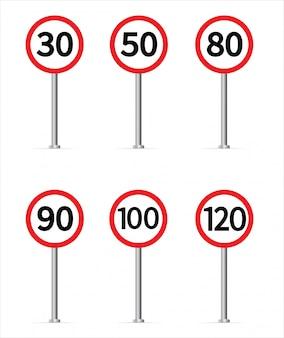 Coleção de sinal de trânsito de limite de velocidade