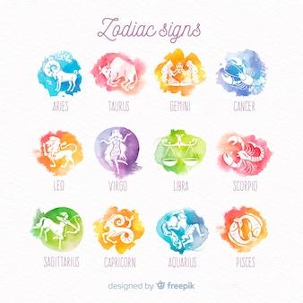 Coleção de sinal do zodíaco gradiente em aquarela