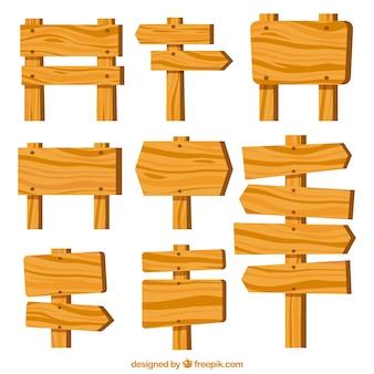 Coleção de sinal e direção de madeira Vetor grátis