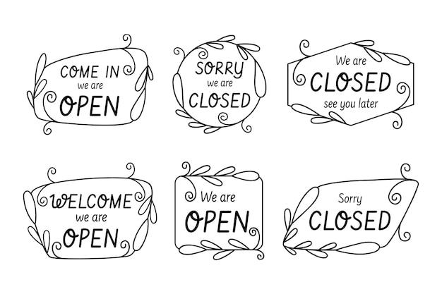 Coleção de sinalização aberta e fechada desenhada à mão