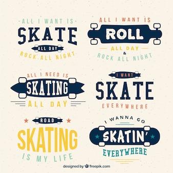 Coleção de skate do vintage com frases