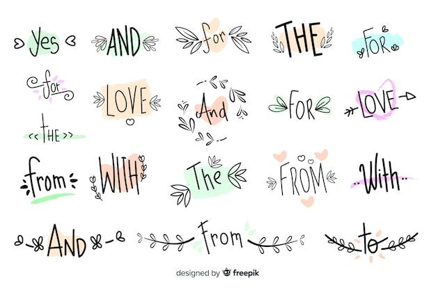 Coleção de slogans de casamento bonito mão desenhada